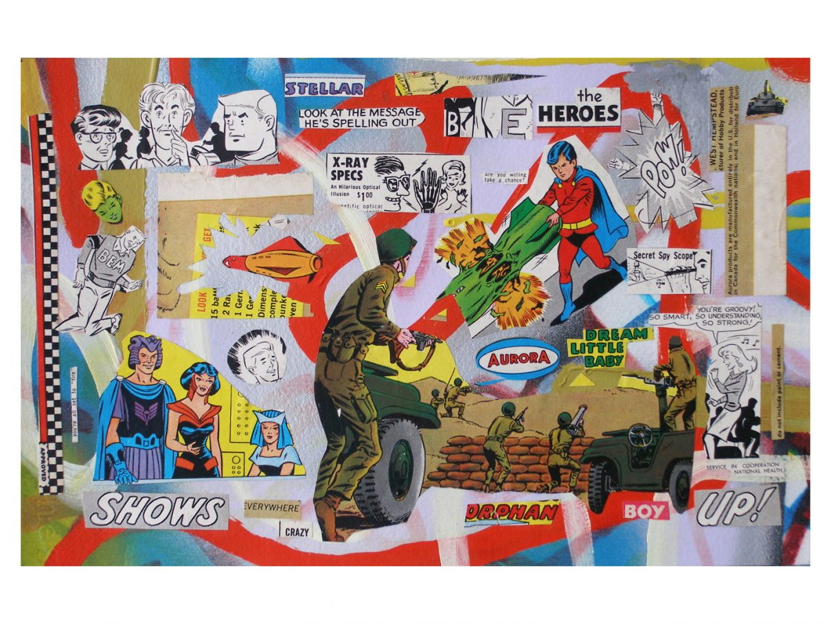 "BE the Heroes (Aurora #6), 2012, acrylic, marker, spray paint and single source collage on paper, 7.5"" x 12"" (NFS)"
