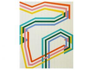 "Spectra B, 2020, acrylic, gesso, & pencil on canvas, 42"" x 34"""